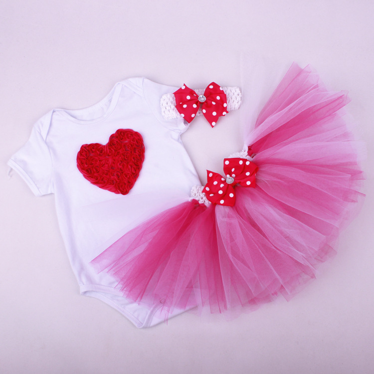 multi layers dress New Baby Girl Clothing Set baby girl outfit sets Crown girl heart romper