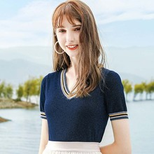AcFirst Summer New Women Tops Casual Pink T-shirts Shirt O-Neck Short Plus Size T Cotton Sexy Tees Knitting