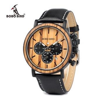 Reloj hombre BOBO oiseau hommes montre montres en bois femmes montres chronographe montres à Quartz militaire relogio masculino