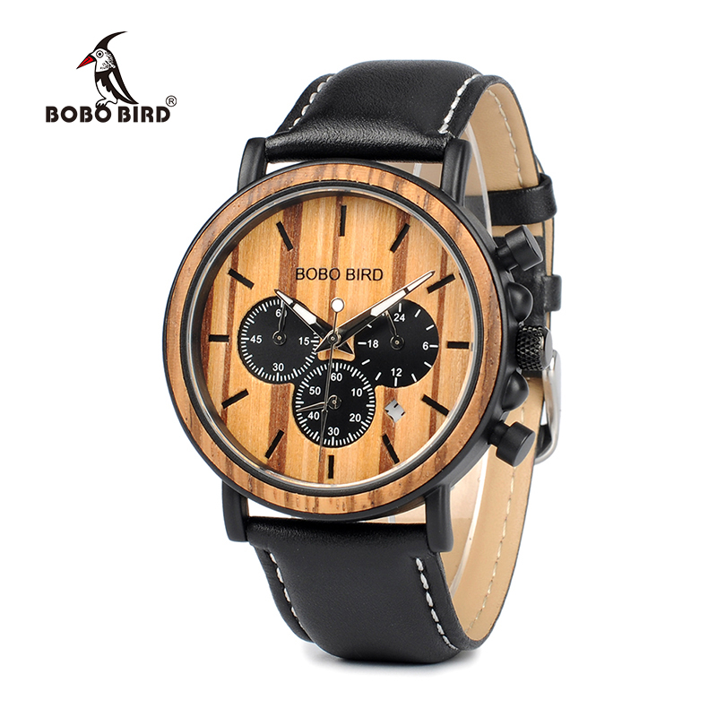 Мужские часы P092 BOBO BIRD с кожаным браслетом, роскошные стильные часы из дерева и нержавеющей стали, секундомер, военные кварцевые часы для муж...