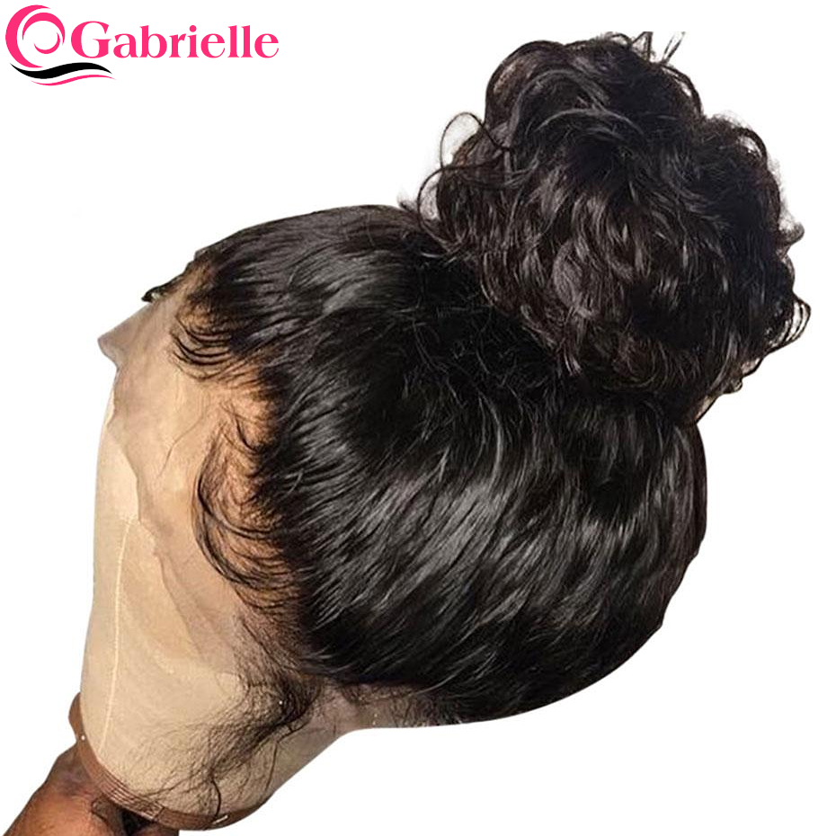 Gabrielle 150 Density 360 Lace Frontal Wig Brazilian Straight Remy Hair Natural Black Lace Front Human