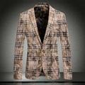 2015 New Arrival Clássico de Veludo Ouro Top Marca Mens Terno Xadrez Blazer Dos Homens de Alta Qualidade Magro Moda Casacos Casual Plus Size 3XL