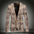 2015 New Arrival Classic Gold Velvet Top Brand Mens Plaid Suit Blazer High Quality Men Slim Fashion Casual Jackets Plus Size 3XL