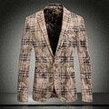 2015 Recién Llegado de Classic Gold Velvet Top Brand Mens Traje A Cuadros chaqueta de Alta Calidad de Los Hombres Delgados Chaquetas Casuales de La Moda Más Tamaño 3XL