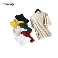 Smpevrg summer new cashmere sweater women pullovers half high neck short sleeve women sweaters and pullovers female knitted tops