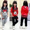 Meninas da criança Do Bebê Crianças Conjunto de Roupas de Inverno Outono Quente Camisola Tops + Pants 2 pcs Roupas
