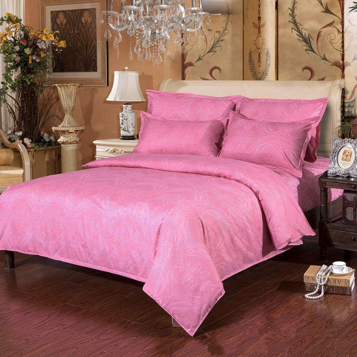 Black and pink bed sheets - Simple Pink Flower Print Bedding Sets Soft Polyester Quilt Duvet Cover Queen Bed Bedsheet Pillowcase Single Double King Size