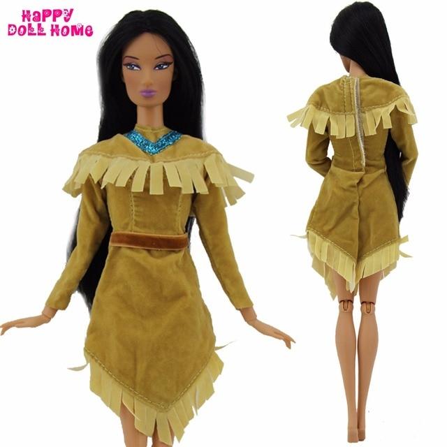 Kleidung Schönheit Lange Kopie Party Us3 5Off Exotische 79 Kleid Ärmel Für 1x Indische Puppe Prinzessin Hochzeit Outfit Barbie Pocahontas K1lcFJ