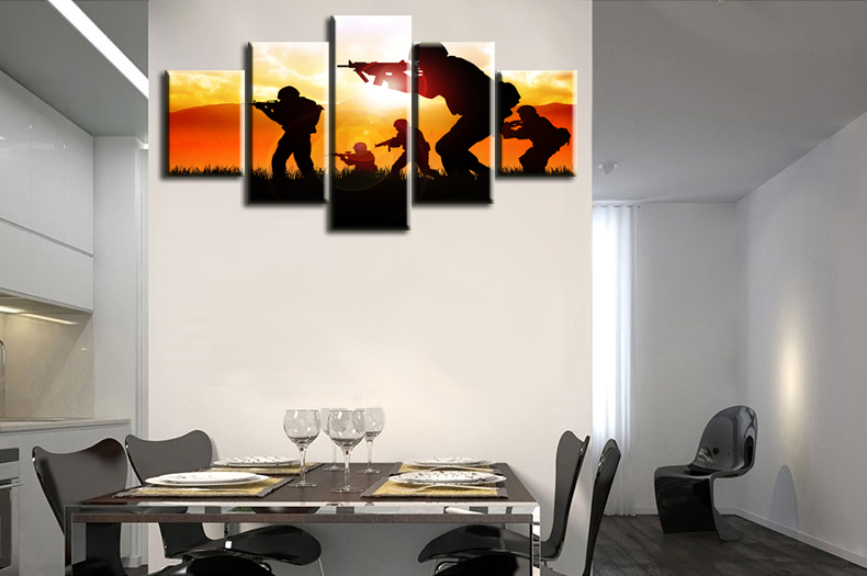office wall prints. Delighful Wall Large Poster Prints Modern Home And Office Wall Art Decor 5 Panels Canvas  On The Sunset Five Military Soldiers Silhouettein Painting U0026 Calligraphy  In