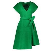 Sisjuly Women Vintage Dress Spring Green Short Sleeve A Line Knee Length Belt Batwing Sleeve Female