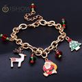 New Christmas gift charm bracelet pulseras mujer bracelet jewelry Santa Claus Christmas tree paracord  bracelets for women 2016