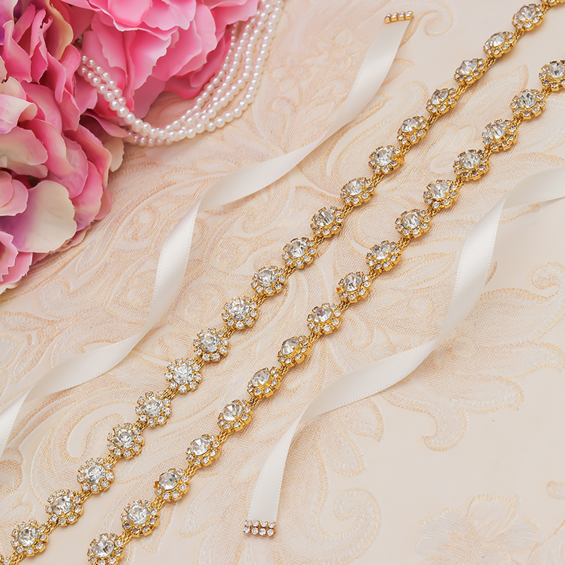 MissRDress Welding Wedding Belt Bridal Belt Ribbon Gold Crystal Rhinesrones Ribbon For Wedding Prom Gown JK948