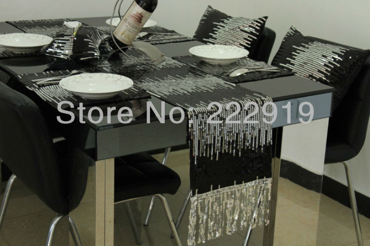 Wholesale  Two-color Paillette Table Runner / Modern Brief Customize Bed Runner/shine Bling Bling  Table Set Free Shipping