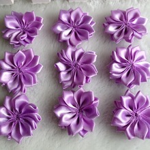 30pcs 35mm Purple Double Ribbon Flowers Handmade Apparel Accessories Sewing Appliques DIY Crafts A649