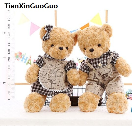 large 60cm couples teddy bears plush toy lovely dressed bear soft doll one pair bears throw pillow Valentine's Day gift b0752 large 150cm pink panther plush toy lovely panther doll soft throw pillow birthday gift b0867