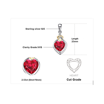 Heart Created Ruby Pendant Sterling Silver Gemstones Statement Necklace  4