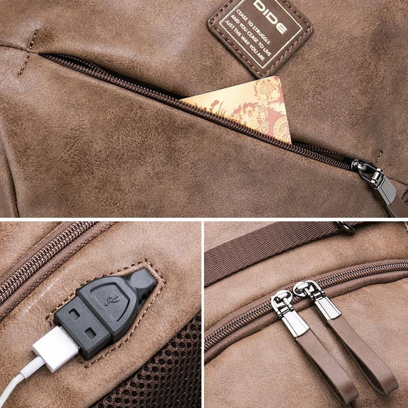 Marque DIDE haute qualité USB charge 15 pouces sacs à dos pour sac d'école mâle Mochila cuir voyage sac à dos pour ordinateur portable hommes - 3