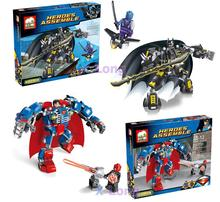 JX 60003 Alliance Mech Avenger Super Hero Batman/Super Man 2Pcs Minifigures Building Block Minifigure Compatible with Legoe Toys