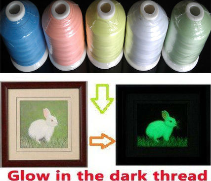 Free Shipping glow thread 3000m cone Glow In The Dark Embroidery Thread with five colors