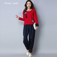 2018 autumn and winter new women national wind cotton and linen embroidery fight suit
