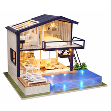 New Furniture Doll House Wooden Miniature DIY DollHouse Furniture Kit Assemble Doll Home Toys For children Time Apartment diy doll house dream angel wooden miniature dollhouse furniture kit toys