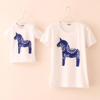 New 2014 Summer Girl T Shirt Kids Clothes Family Girls Short Sleeve T Shirt Mother And
