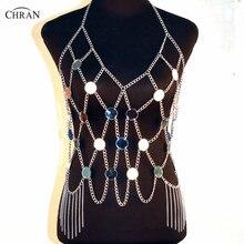 Chran Luxe Mirror Perspex Crop Top Ajustable Necklace Disco Bandeau Bralette Sexy Bikini Swimwear Dress Party