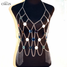 Chran Luxe Mirror Perspex Crop Top Ajustable Necklace Disco Bandeau Bralette Sexy Bikini Swimwear Dress Party Jewelry CRM202