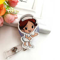1pc Cute Retractable Badge Reel Students Nursing Exhibition Pull Key ID Name Tag Card Badge Holder Office School Supplies Gifts