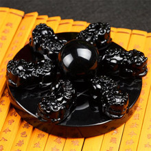 Natural obsidian PI xiu seven-star array put pieces of natural crystal ball gourd home accessories