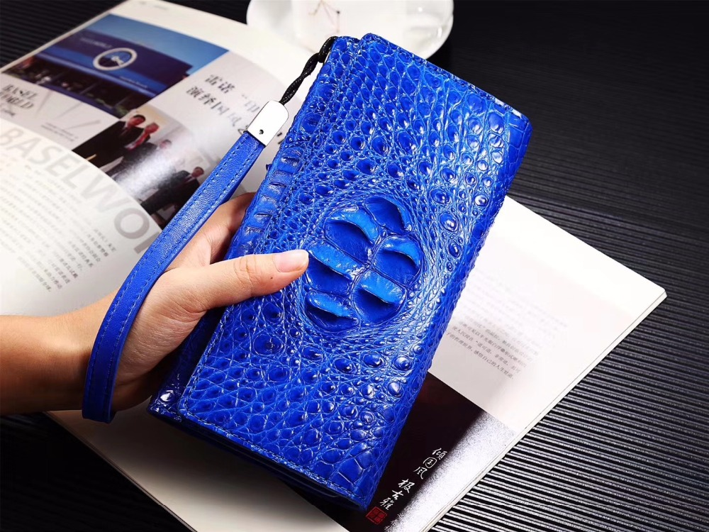 100% genuine crocodile leather skin women wallets purse clutch long size , alligator head skin trifold wallet bank card holder baellerry thin leather wallet men mini wallet purse mens wallets luxury brand famous slim short money walet male small clutch
