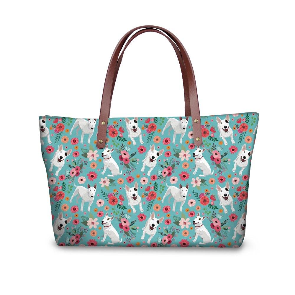 Для женщин Сумки питбультерьер печать сумки на ремне для Для женщин девочек известного бренда Топ-ручка сумки пляжные Большой Tote сумки
