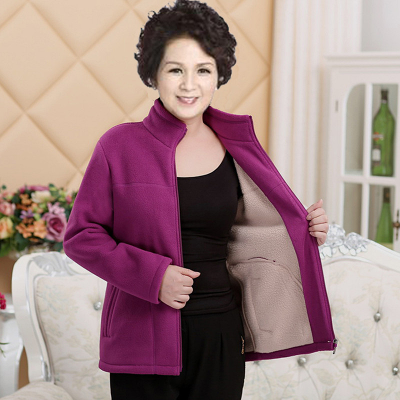 d976be801b5 QAZXSW New Middle age Women Plus Size Fleece Coat Autunm Winter Jacket  Woolen Long Cashmere Coats Cardigan Jacket Elegant YX8834-in Basic Jackets  from ...