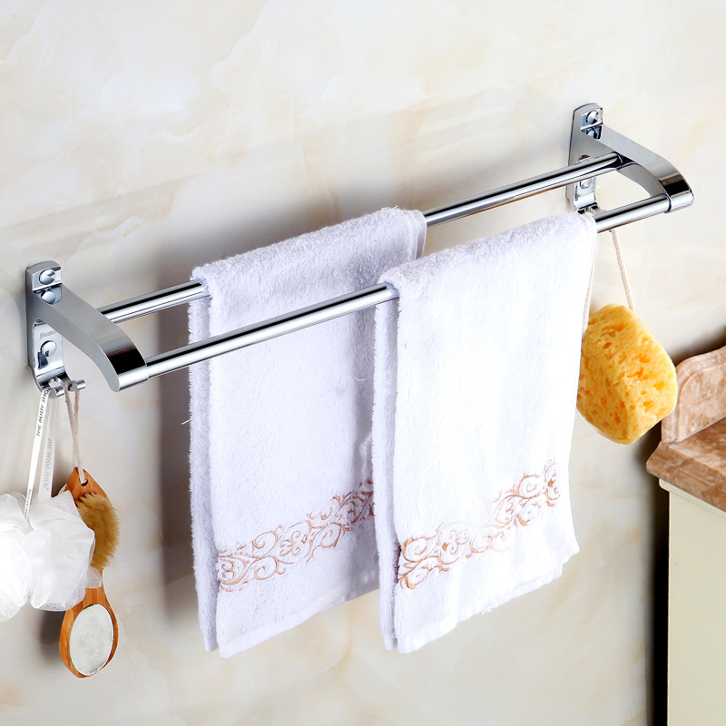 Jieshalang The Bathroom Stainless Steel Double Pole Bathroom Towel Rack Towel Bar Towel Holder Bathroom Hardware Accessories 794 black bronze towel rack copper double pole bathroom towel rack hardware accessories bathroom towel rack papel de parede listrado