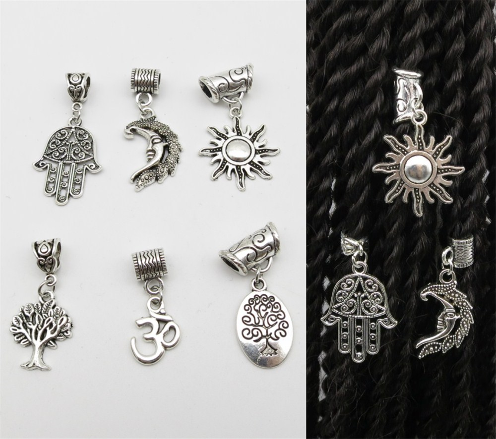 6pcs Pack Different 6 Styles Viking Charms Hair Braid