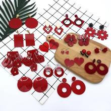 Statement Geometric Multiple Acrylic Earrings For Women Red Big Circle Round Square Long Drop Dangle Earrings Female Jewelry цены