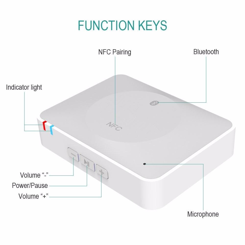 NFC Bluetooth Wireless Desktop Stereo Audio Music Receiver DVD Player Car Speaker USB Adapter  (5)