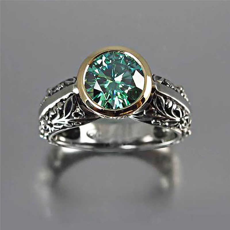 2019 New Green Stone Rhinestone Rings for Women Girls Silver Color Out Vintage Rings Fashion Wedding Engagement Jewelry Z4