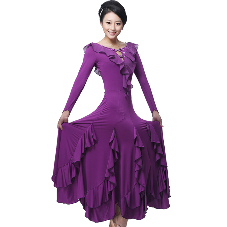Adult Ballroom Dance Dress Balck/Red/Purple Ballroom Dance Practicing Dress Modern Dresses Women Long Sleeve Waltz Dress