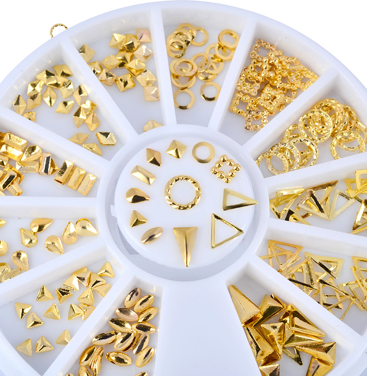 1Wheel 12Styles Ronde Diamant Driehoek Nail Art Rivet Gouden Nail Studs Steentjes Manicure 3D Nail Art Decorations Nagels Charms