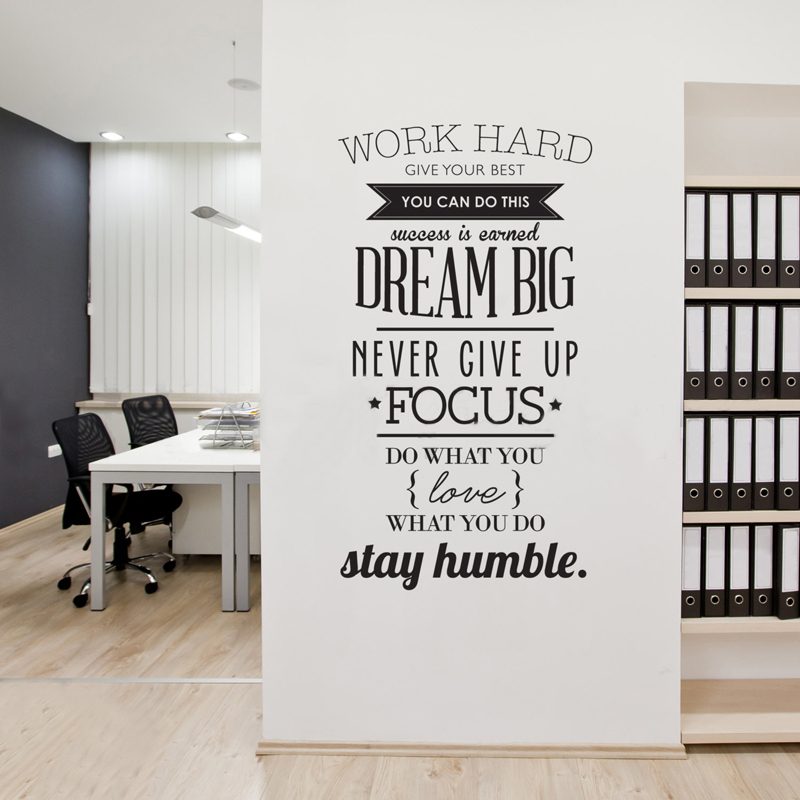 Werk hard Inspirerende citaten Vinyl kunst aan de muur Sticker Never Give Up Grote droom muurschildering Decals Poster voor Office woonkamer Home Decor