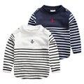 Ребенок мужского пола полосой с длинными рукавами футболки весна 2016 детская одежда ребенок основные рубашка младенца топ u1187