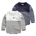 Male child stripe long-sleeve T-shirt spring 2016 children's clothing child basic shirt baby top u1187