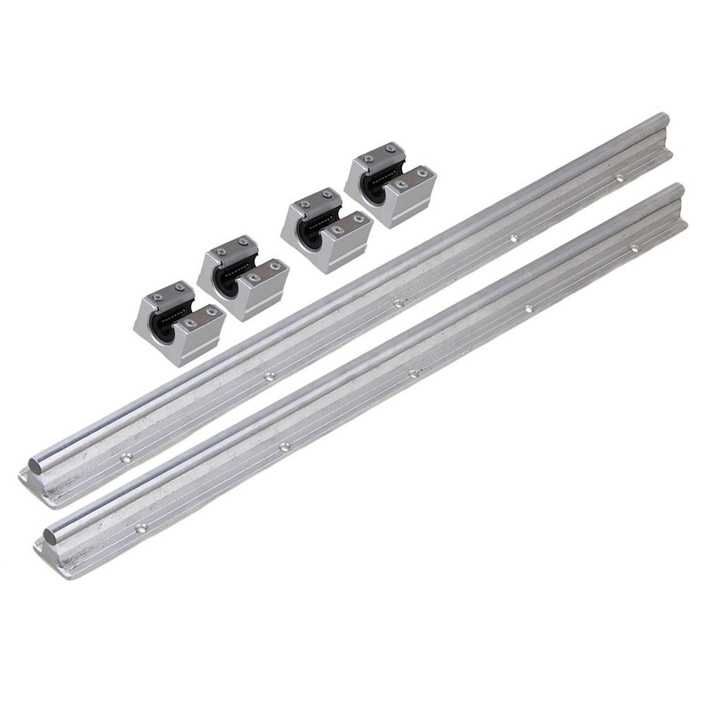 Silver Open Roller Bearing Slide Block & L500mm SBR10 Linear Bearing Rail Guide with 10mm Dia Shaft for CNC Machine Set of 6 silver open roller bearing slide block