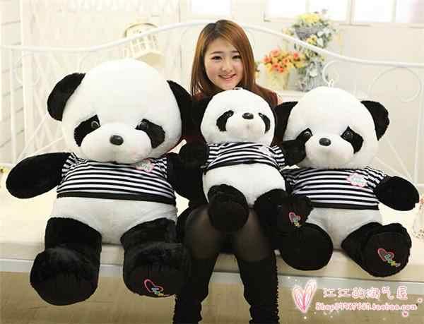 Полоски ткань дизайн большой мyльтяшнaя любoвь панда плюшевая игрушка, подушка игрушка, подарок на день рождения h769