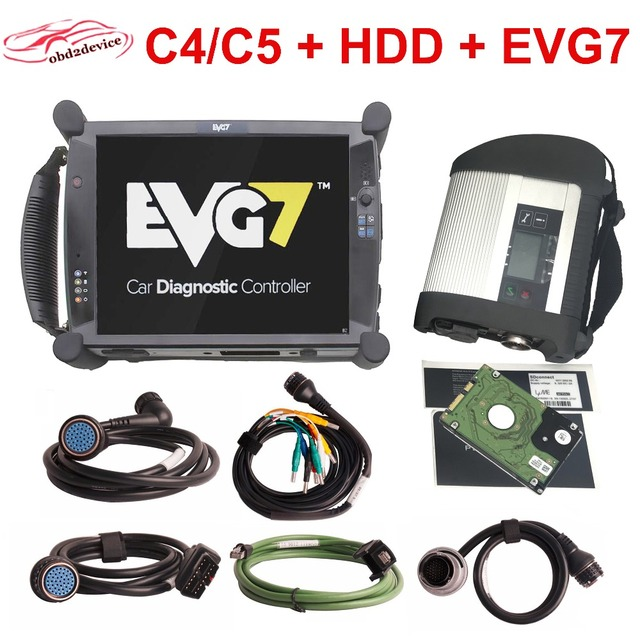Flash Promo High Quality MB STAR C5 SD Connect C4 Scanner with EVG7 DL46/HDD500GB/DDR4GB Diagnostic Controller Tablet and Software V201812