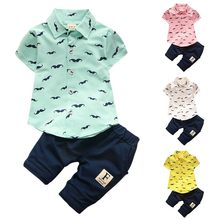 Stylish Boys Sets Kids Children Cotton Cartoon Casual Fashion New Turn-Down Collar Single Breasted Summer Short Sets(China)