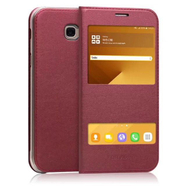 A520 Case Dual Window View Flip PU Leather Back Cover For Samsung Galaxy A5 2017 SM-A520FZKDSER