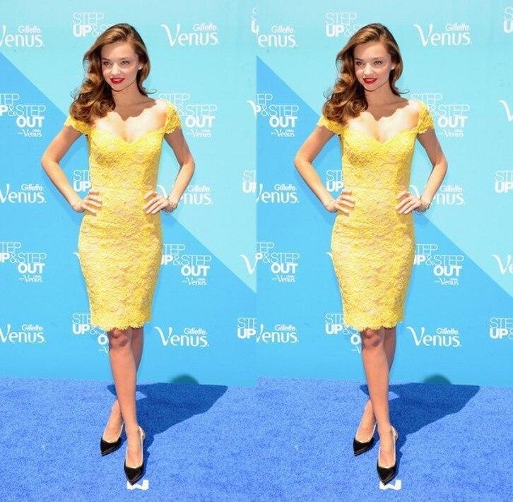 Nueva Llegada de Miranda Kerr Amarillo Fuera del hombro de Encaje Vestidos de Co