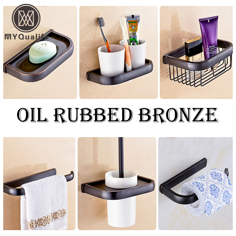 Free Shipping Black Color Bathroom Accessory Wall Mounted Brass Toilet Towel Bar Soap Dish Tooth Brush Holder Storage Basket antique brass luxury bathroom accessory paper holder toilet brush rack commodity basket shelf soap dish towel ring